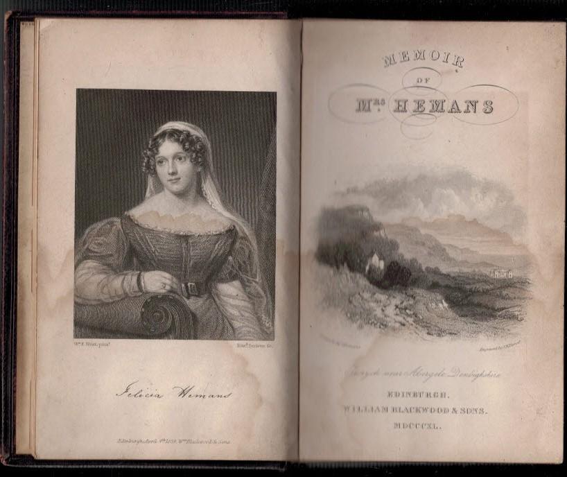 [OWEN, HARRIET MARY BROWNE ]; [HUGHES, HARRIET] - Memoir of the Life and Writings of Mrs Hemans