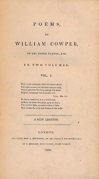 COWPER, WILLAM - Poems by William Cowper of the Inner Temple, Esq. 2 Volume Set