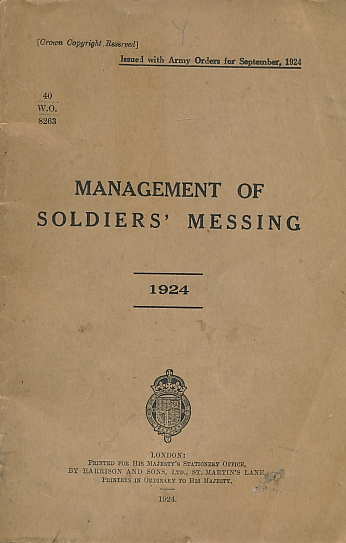 ARMY COUNCIL - Management of Soldiers' Messing