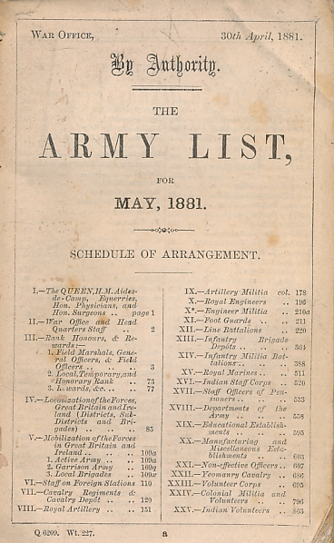 THE WAR OFFICE - The Army List for May 1881