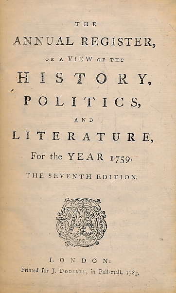 [BURKE, EDMUND] - The Annual Register, or a View of the History, Politics, and Literature for the Year 1759