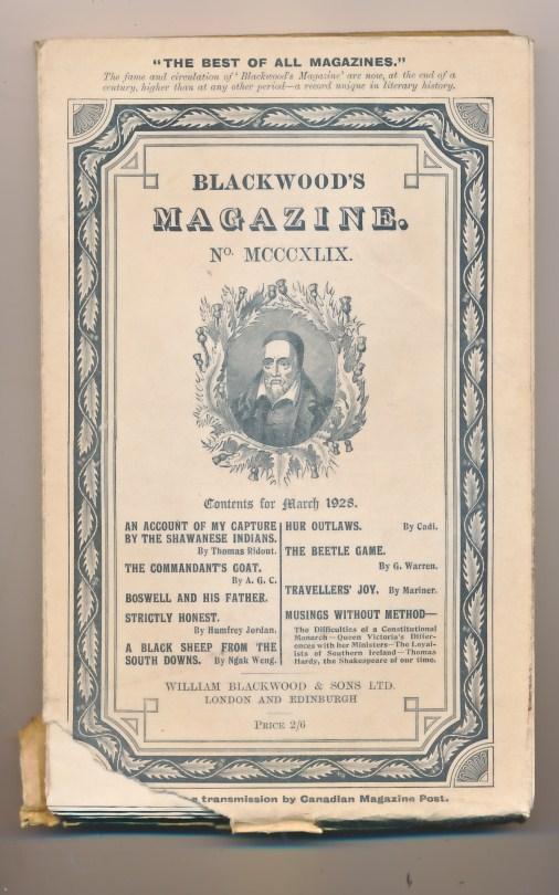 [WILLIAM BLACKWOOD] - Blackwood's Magazine. Volume 223. No MCCCXLIX 1349. March 1928