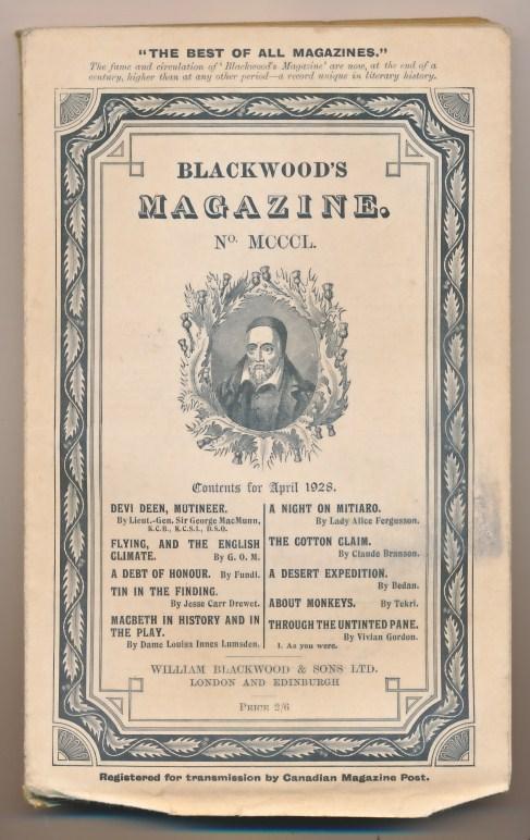 [WILLIAM BLACKWOOD] - Blackwood's Magazine. Volume 223. No MCCCL 1350. April 1928