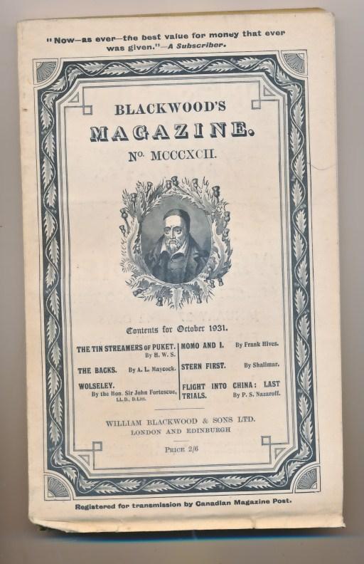 [WILLIAM BLACKWOOD] - Blackwood's Magazine. Volume 230. No MCCCXCII 1392. October 1931