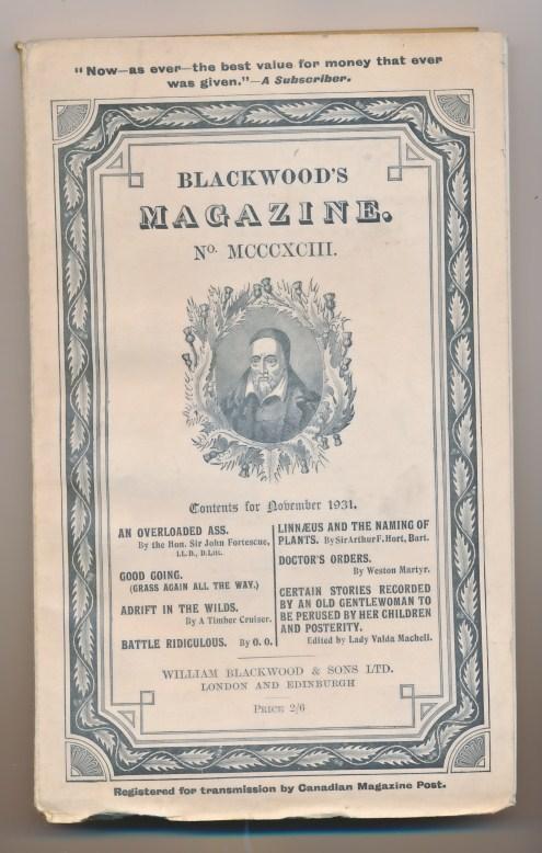 [WILLIAM BLACKWOOD] - Blackwood's Magazine. Volume 230. No MCCCXCIII 1393. November 1931