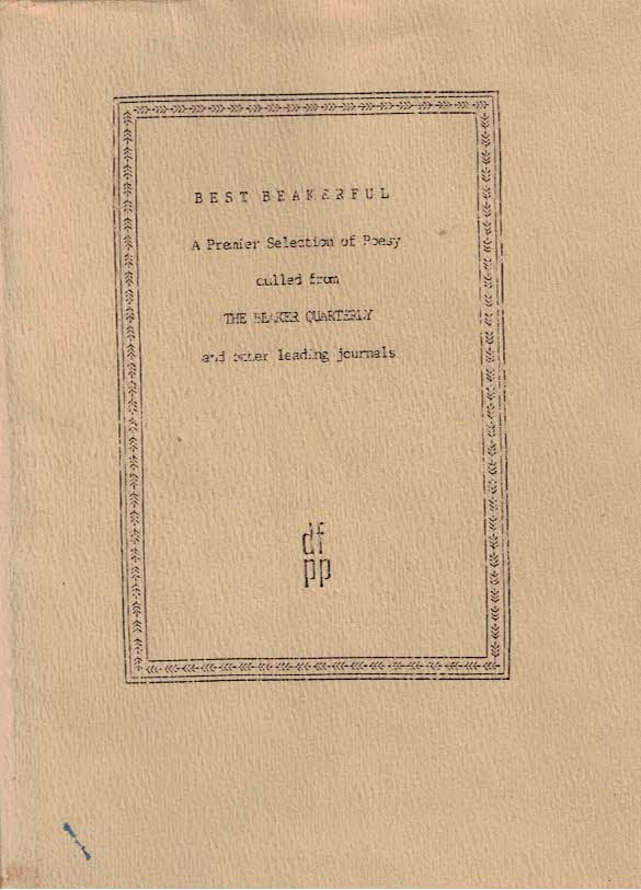 [FARRAN, DEAN] - Best Beakerful. A Premier Selection of Poesy Culled from the Beaker Quarterly and Other Leading Journals