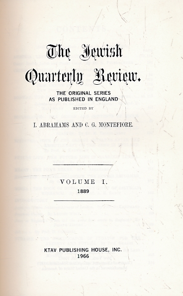 ABRAHAMS, I; MONTEFIORE, C G [EDS.] - The Jewish Quarterly Review. The Original Series As Published in England. Facsimile Edition. 20 Volume Set Plus Analytical Index - Complete