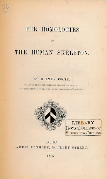 COOTE, HOLMES - The Homologies of the Human Skeleton
