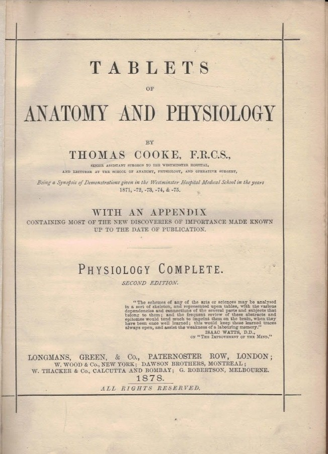 Barter Books : Cooke, Thomas : Tablets of Anatomy and Physiology ...