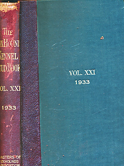 EDITOR - The Foxhound Kennel Stud Book. Volume the Twenty-First [XXI]. 1933. Comprising Entries from One Hundred and Seventy-Three Packs of Foxhounds