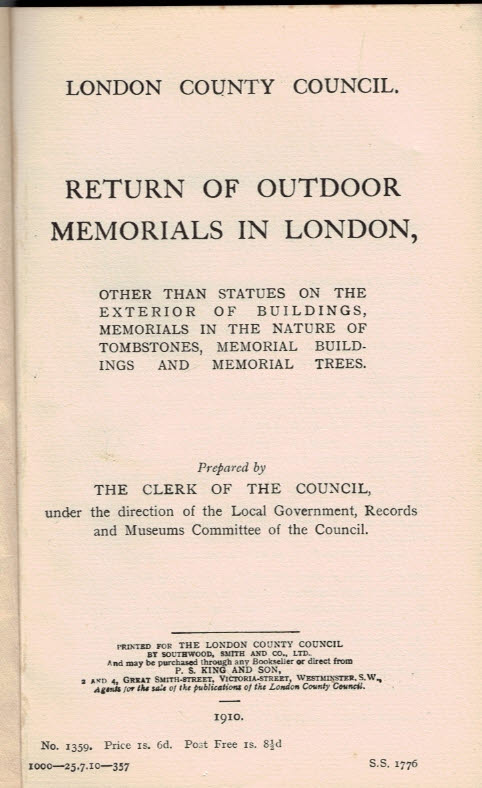 LONDON COUNTY COUNCIL - Return of Outdoor Memorials in London