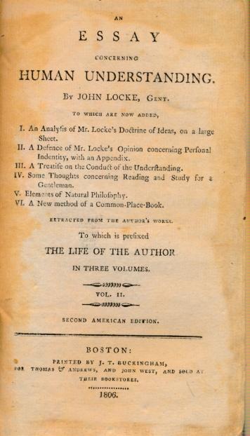 LOCKE, JOHN - An Essay Concerning Human Understanding. Volume II. Of Various Ideas. 1806 Edition