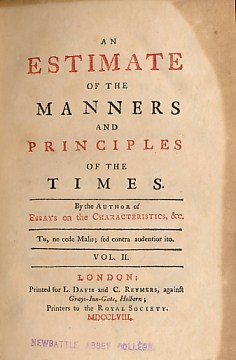 [BROWN, JOHN] - An Estimate of the Manners and Principles of the Times. Volume II