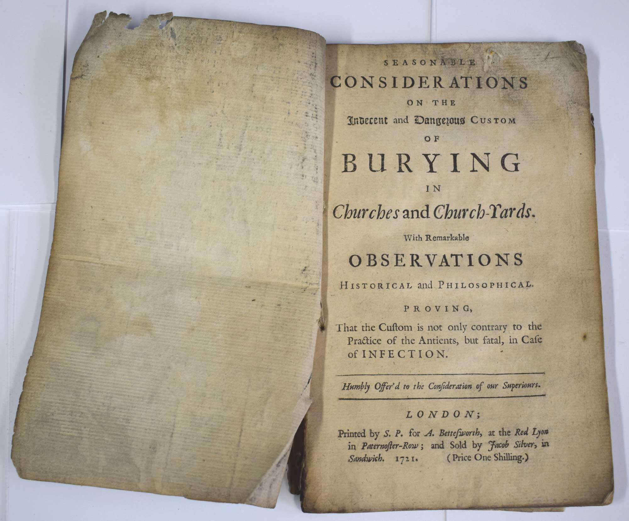 [LEWIS, THOMAS] - Seasonable Considerations on the Indecent and Dangerous Custom of Burying in Churches and Church-Yards. With Remarkable Observations Historical and Philosophical...