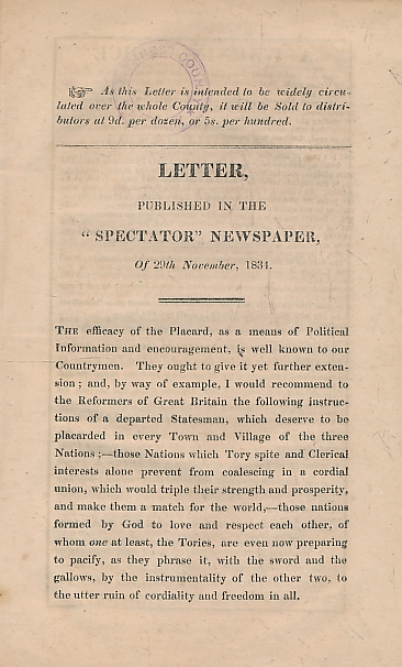 [DUNBAR, ROBERT?] - Letter Published in the