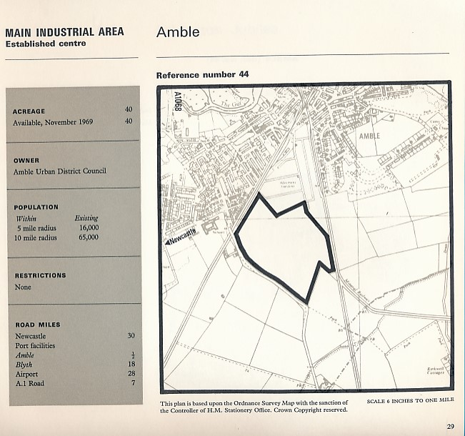 NORTHUMBERLAND COUNTY COUNCIL - Northumberland Industrial Sites. Northumberland County Council (1970)