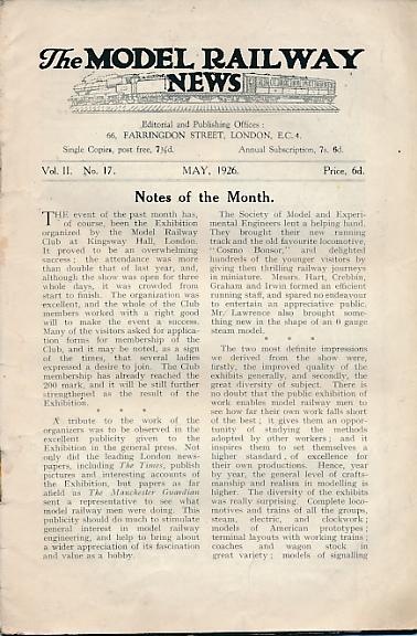 THE EDITOR - The Model Railway News. Volume 2. May 1926