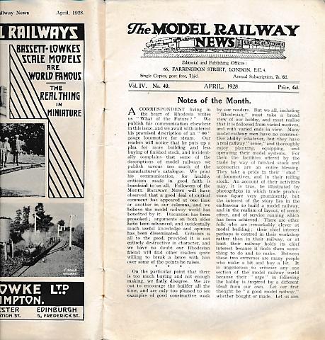 THE EDITOR - The Model Railway News. Volume 4. April 1928