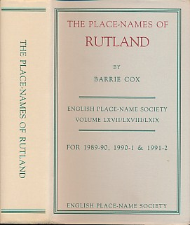 COX, BARRIE - The Place-Names of Rutland. English Place-Name Society, Volume 67-9