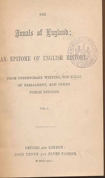 EDITOR - The Annals of England; an Epitome of English History. 3 Volume Set