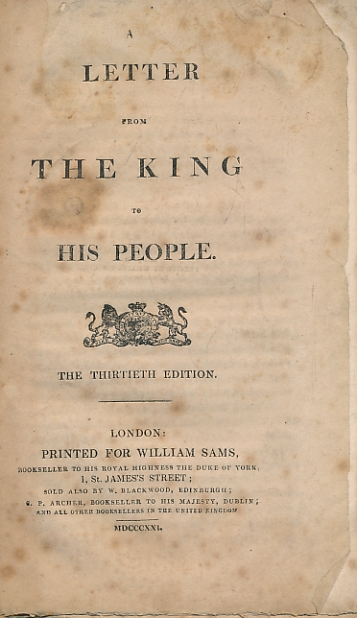 [WILLIAM SAMS] - A Letter from the King to His People