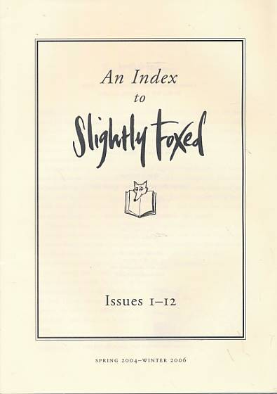EDS - An Index to Slightly Foxed. Issues 1-28