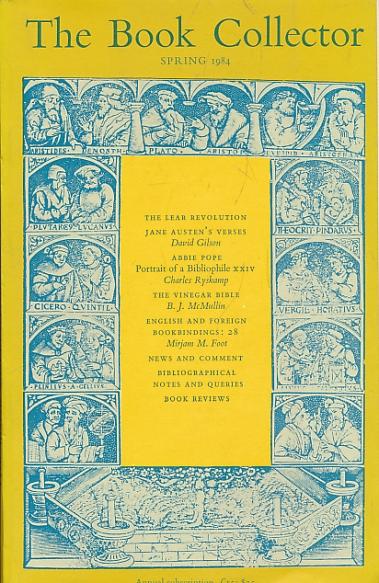 BARKER NICOLAS [ED.] - The Book Collector. Volume 33. No. 1. Spring 1984