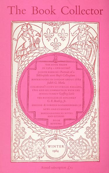 BARKER NICOLAS [ED.] - The Book Collector. Volume 33. No. 4. Winter 1984