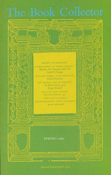 BARKER NICOLAS [ED.] - The Book Collector. Volume 38. No. 1. Spring 1989