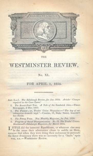 EMERSON, JAMES; STAPLETON, AUSUSTUS GRANVILLE; MARTIN, JOHN; &C - The Westminster Review. No. XL [40]. April 1834