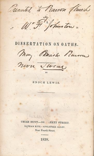 LEWIS, ENOCH - A Dissertation on Oaths