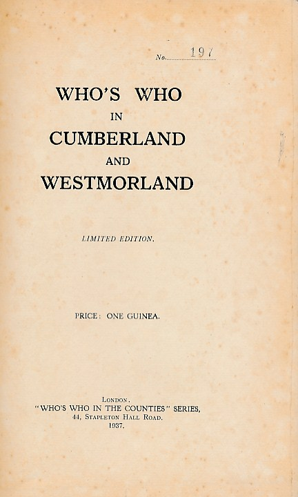 EDITOR - Who's Who in Cumberland and Westmorland