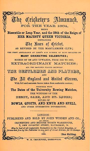 CROCKFORD, W H; KNIGHT, W H [EDS.] - Wisden Cricketers' Almanack 1864. 1st Edition. Facsimile Reprint