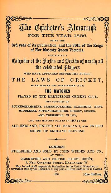 CROCKFORD, W H; KNIGHT, W H [EDS.] - Wisden Cricketers' Almanack 1866. 3rd Edition. Facsimile Reprint