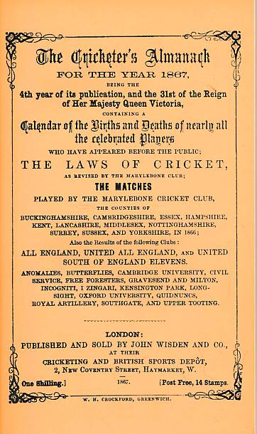 CROCKFORD, W H; KNIGHT, W H [EDS.] - Wisden Cricketers' Almanack 1867. 4th Edition. Facsimile Reprint